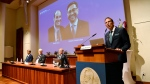 Thomas Perlmann, Secretary of the Nobel Assembly and the Nobel Committee, announces the winners of the 2021 Nobel Prize in Physiology or Medicine during a press conference at the Karolinska Institute in Stockholm, Sweden, Monday, Oct. 4, 2021. The Nobel Prize in the field of physiology or medicine has been awarded to U.S. scientists David Julius and Ardem Patapoutian. They were cited for their discovery of receptors for temperature and touch. The winners were announced Monday by Thomas Perlmann, secretary-general of the Nobel Committee.  (Jessica Gow/TT via AP)