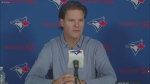 Blue Jays GM Ross Atkins speaks at a season-ending media availability.
