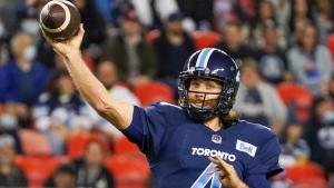 Toronto Argonauts quarterback McLeod Bethel-Thompson (4) throws a pass against the Ottawa Redblacks during first half CFL football action in Toronto on Wednesday, October 6, 2021. THE CANADIAN PRESS/Evan Buhler