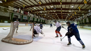 Students take part in an indoor hockey practice session in this file photo. THE CANADIAN PRESS/Paul Chiasson