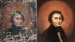 This combination of undated photos provided by Dariusz Markowski, left, and Jaroslaw Golebiowski, right, show a portrait of Polish composer Frederic Chopin before and after restoration. A peeling portrait of Polish piano composer Frederic Chopin purchased at a flea market hung modestly in a private house in Poland for almost three decades before an expert dated the painting to the 19th century. The small painting now resides in a bank vault somewhere in eastern Poland while its owners negotiate their next steps. News of the artwork's existence broke this week as Warsaw hosted the 18th Frederic Chopin Piano Competition. The art expert who examined the portrait says it has significant historic value, but he refrained from estimating what it might sell for. (Dariusz Markowski/ Jaroslaw Golebiowski via AP)