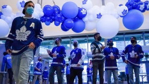 Fans enter the Scotiabank Arena before the start of the Toronto Maple Leafs first game of the season against the Montreal Canadiens in Toronto on Wednesday, October 13, 2021. THE CANADIAN PRESS/Evan Buhler