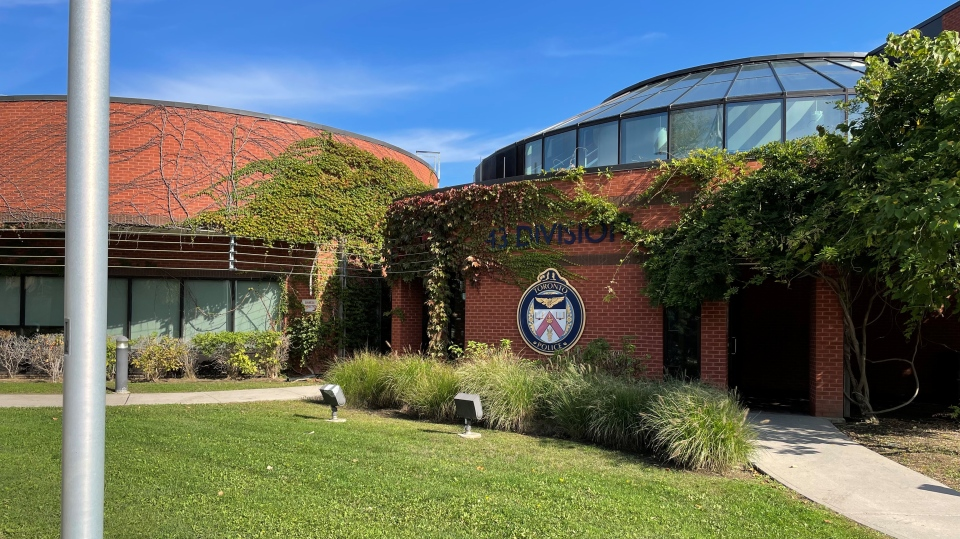 The 43 Division Toronto police station is pictured in Scarborough Thursday, October 14, 2021. (Corey Baird / CTV News Toronto)
