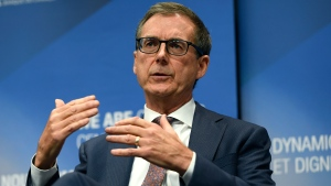Governor of the Bank of Canada Tiff Macklem speaks during a videoconference event with the Council on Foreign Relations at the Bank of Canada in Ottawa, on Thursday, Oct. 7, 2021. THE CANADIAN PRESS/Justin Tang