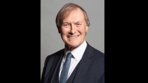 This is an undated photo issued by UK Parliament of Conservative Member of Parliament, David Amess. (Chris McAndrew/UK Parliament via AP)