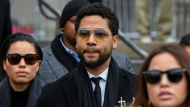 """In this Feb. 24, 2020 file photo, former """"Empire"""" actor Jussie Smollett leaves the Leighton Criminal Courthouse in Chicago. (AP Photo/Matt Marton, File)"""