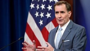 Pentagon spokesman John Kirby speaks during a briefing at the Pentagon in Washington, Thursday, Sept. 30, 2021. (AP Photo/Susan Walsh)