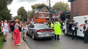 Hundreds of people pack Aberdeen Street in Kingston, Ont. during homecoming celebrations at Queen's University. (Kimberley Johnson/CTV News Ottawa)