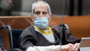 New York real estate heir Robert Durst is sentenced to life in prison without the possibility of parole for killing his best friend Susan Berman at the Airport Courthouse, Thursday, Oct. 14, 2021, in Los Angeles. (Myung J. Chung/Los Angeles Times via AP, Pool)