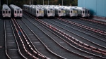 Market-Frankford line trains remain idle at a Southeastern Pennsylvania Transportation Authority (SEPTA) station Tuesday, Nov. 1, 2016 in Upper Darby, Pa., just outside Philadelphia. (AP Photo/Jacqueline Larma)