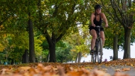 A woman rides her bike along a path covered in fallen leaves neat The Beaches in Toronto on Thursday, October 14, 2021. THE CANADIAN PRESS/Evan Buhler