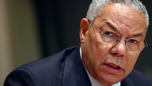 U.S. Secretary of State Colin Powell speaks during a news conference at the United Nations headquarters Friday, Sept. 26, 2003.  (AP Photo/Mary Altaffer)