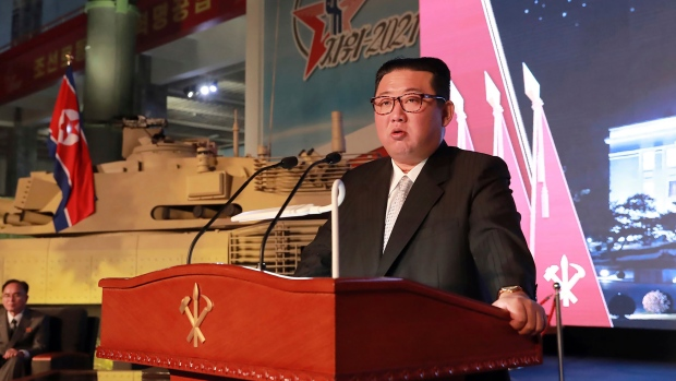 In this Oct. 11, 2021, photo provided by the North Korean government, North Korean leader Kim Jong Un speaks during an exhibition of weapons systems in Pyongyang, South Korea's military said Tuesday, Oct. 19, 2021, North Korea fired an unidentified projectile to its eastern waters as it continued a recent streak of weapons tests apparently aimed at pressuring Washington and Seoul over a stalled nuclear diplomacy. The content of this image is as provided and cannot be independently verified. (Korean Central News Agency/Korea News Service via AP, File)