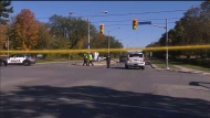 Emergency crews investigate a fatal collision in Scarborough on Oct. 19, 2021.