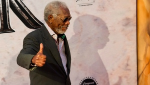 """U.S. actor Morgan Freeman arrives at the world premiere of """"Ben-Hur"""" at the Teatro Metropolitan in Mexico City, Tuesday, Aug. 9, 2016. (AP Photo/Nick Wagner)"""