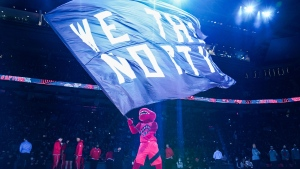Toronto Raptors mascot performs before the start of the team's NBA season opener against the Washington Wizards in Toronto Wednesday, October 20, 2021. THE CANADIAN PRESS/Evan Buhler