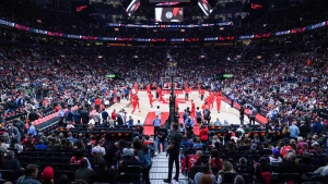 Toronto Raptors fans fill the arena during the warm-up before the start of the team's NBA season opener against the Washington Wizards in Toronto Wednesday, October 20, 2021. THE CANADIAN PRESS/Evan Buhler