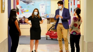 Prime Minister Justin Trudeau and Deputy Prime Minister Chrystia Freeland meet with doctors at the Children's Hospital of Eastern Ontario, in Ottawa, Thursday, Oct. 21, 2021. THE CANADIAN PRESS/Sean Kilpatrick