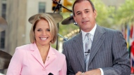 """FILE - Katie Couric, left, and Matt Lauer, co-hosts of the NBC's """"Today"""" show, introduce a segment of the show, on Aug. 12, 2005 in New York. Couric has a new book """"Going There"""" out on Oct. 26. (AP Photo/Richard Drew, File)"""
