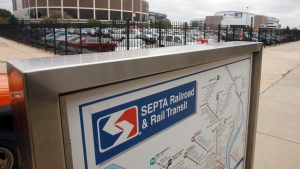 """FILE - In this Friday, Oct. 30, 2009 file photo, A SEPTA transit map is shown outside the Pattison subway station near the Wachovia Spectrum, left, and the Wachovia center, right in Philadelphia. The narrative that passengers watched a man rape a woman on a train in suburban Philadelphia last week and """"filmed it for their own gratification instead of calling the police"""" is false, the prosecutor handling the case said Thursday, Oct. 21, 2021 as he asked witnesses to come forward. (AP Photo/Matt Slocum, File)"""