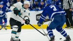 San Jose Sharks forward Logan Couture (39) takes a shot between the legs of Toronto Maple Leafs defenceman Justin Holl (3) during first period NHL action in Toronto Friday, October 22, 2021. THE CANADIAN PRESS/Evan Buhler
