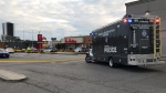 Toronto police are investigating a fatal shooting in a North York plaza parking lot. (Simon Sheehan/CP24)