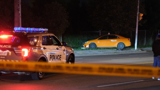 Toronto police are investigating a shooting in Scarborough that left a taxi driver seriously injured. (Simon Sheehan/CP24)