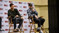 Cousins Robbie Amell (left) and Stephen Amell take part in a panel at Fan Expo Canada in downtown Toronto Saturday, October 23, 2021. (Joshua Freeman /CP24)