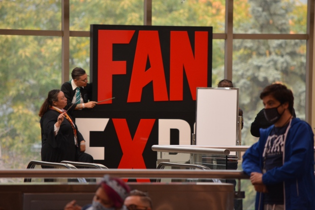 Costumed fans are pictured on the convention floor at Fan Expo Canada in downtown Toronto Saturday, October 23, 2021. (Joshua Freeman /CP24)