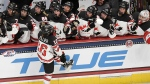 Canada's Sarah Fillier celebrates with her goal with her team during overtime play of a women's hockey game against the United States in a pre-Olympic Games series Monday, Oct. 25, 2021, in Hartford, Conn. (AP Photo/Jessica Hill)