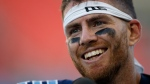 Toronto Argonauts quarterback Nick Arbuckle (9) smiles during an interview following their CFL game against the Winnipeg Blue Bombers at BMO Field in Toronto, Saturday, Aug. 21, 2021. THE CANADIAN PRESS/Cole Burston