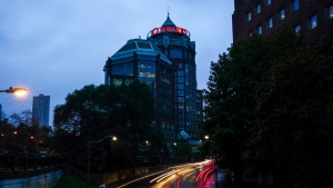 Traffic drives past the Rogers corporate head office and headquarters along Mount Pleasant Road in Toronto on Monday, Oct. 25, 2021. THE CANADIAN PRESS/Evan Buhler