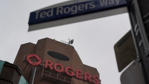 Rogers corporate head office and headquarters seen from Ted Rogers Way in Toronto on Monday, Oct. 25, 2021. THE CANADIAN PRESS/Evan Buhler