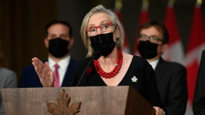 Minister of Mental Health and Addictions and Associate Minister of Health Carolyn Bennett at a news conference after the federal cabinet was sworn in, in Ottawa, on Tuesday, Oct. 26, 2021. THE CANADIAN PRESS/Justin Tang