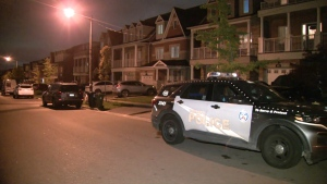 Police respond to a stabbing on Leila Jackson Terrace in North York Tuesday, October 26, 2021.