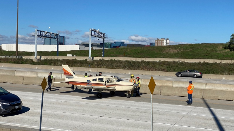 A Piper PA-28 plane that made an emergency landing on Highway 407 in Markham is seen on Oct. 27, 2021. (John Musselman/CTV News Toronto)
