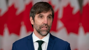 Minister of Environment and Climate Change Steven Guilbeault speaks during a news conference, Tuesday, October 26, 2021 in Ottawa. THE CANADIAN PRESS/Adrian Wyld