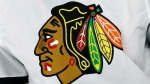 FILE - In this May 3, 2021, file photo, the Chicago Blackhawks logo is displayed on a jersey in Raleigh, N.C. The Blackhawks are holding a briefing Tuesday, Oct. 26, 2021, to discuss the findings of an investigation into allegations that an assistant coach sexually assaulted a player in 2010. (AP Photo/Karl B DeBlaker, File)
