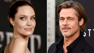 FILE - This file photo combination shows Angelina Jolie at a premiere in Los Angeles on Sept. 30, 2019, left, and Brad Pitt at a special screening on Sept. 18, 2019. The California Supreme Court has refused to consider Pitt's appeal of a court ruling that disqualified the judge in his custody battle with Jolie. The court on Wednesday, Oct. 27, 2021, denied review of a June appeals court decision that said the private judge hearing the case should be disqualified for failing to sufficiently disclose his business relationships with Pitt's attorneys. (AP Photo/File)