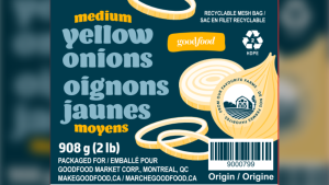 The Canadian Food Inspection Agency says a recall has been expanded for Goodfood brand onions due to possible salmonella contamination. (Photo: CFIA)