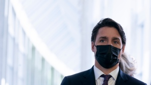 Prime Minister Justin Trudeau is seen as he leaves a cabinet meeting, in Ottawa, Wednesday, Oct. 27, 2021. THE CANADIAN PRESS/Adrian Wyld