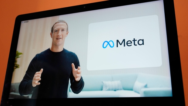 """Seen on the screen of a device in Sausalito, Calif., Facebook CEO Mark Zuckerberg announces their new name, Meta, during a virtual event on Thursday, Oct. 28, 2021. Zuckerberg talked up his latest passion -- creating a virtual reality """"metaverse"""" for business, entertainment and meaningful social interactions. (AP Photo/Eric Risberg)"""