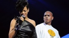 Singers Rihanna and Chris Brown perform at Madison Square Garden in New York on Dec. 12, 2008. (AP / Evan Agostini)