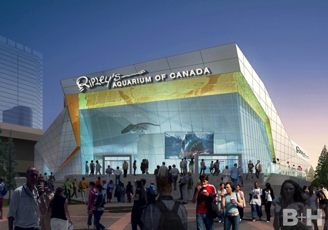 Renderings of the proposed aquarium at the foot of the CN Tower. (B+H Architects)