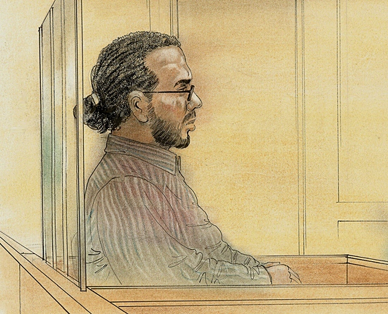 A courtroom sketch of Abdullah Khadr at his extradition hearing on Wednesday, April 7, 2010.