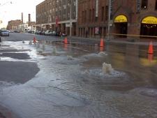 Front Street is closed following a watermain break. (CP24/ Tristan Phillips)