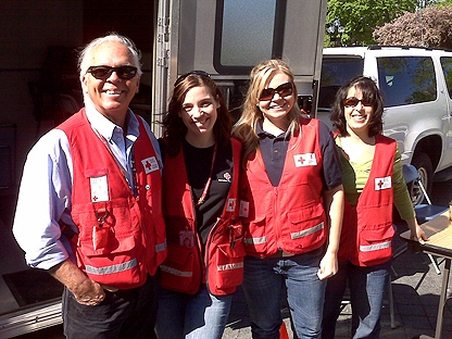 Emergency Preparedness Week's Red Cross team poses for a photo. (CP24/Cam Woolley)
