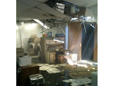 CP24 Viewer Jay Moore sent in this photo from inside the building that a small plane crashed in to.