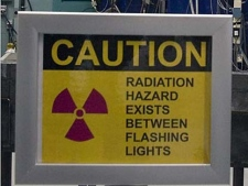 A warning sign outside the nuclear reactor at the Atomic Energy Canada Limited plant in Chalk River, Ontario, Wednesday, December 19 2007. (Fred Chartrand/