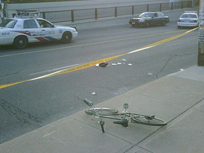 A cyclist has been seriously injured in a collision with a vehicle on Tuesday evening. (CP24/Jee-Yun Lee)